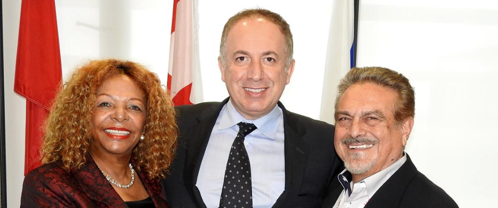 Geraldine Di Marco, Mayor Maurizio Bevilacqua and John Di Marco during A Touch of Love and Hope meeting at the City of Vaughan.